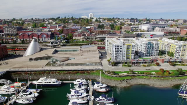 Aerial Panning Shot Foss Waterway Tacoma video