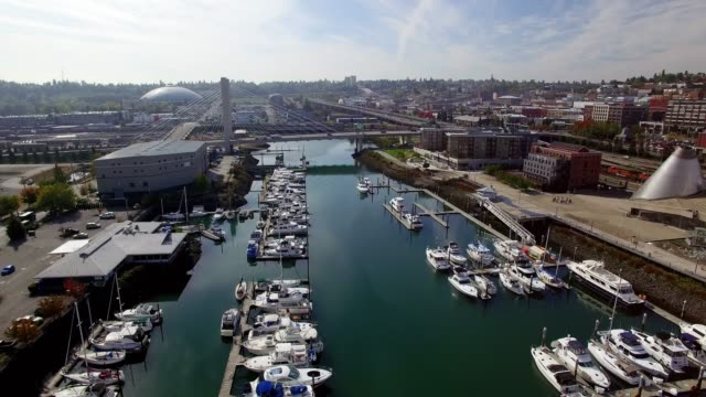Aerial Panning Shot Tacoma Washington Downtown Skyline video