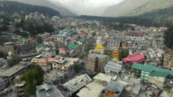 Aerial panorama of a small asian town in the mountains video