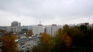 Aerial panorama of autumn city in cloudy sky video