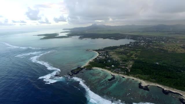 Aerial panorama of Mauritius Island video