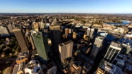 Aerial panoramic timelapse of Syndey CBD, high-rise buildings and Darling Harbour (4K/UHD to HD) video