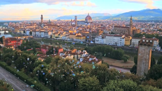 Aerial panoramic view of Florence at sunset, Italy video