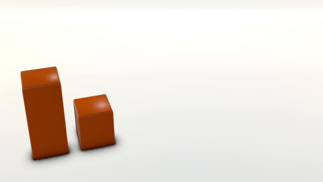 Aerial perspective of three orange bar graph on white ambient floor video
