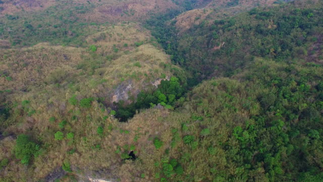 aerial photography above amazing cave. video