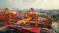 Aerial point of view Cargo Container Port video