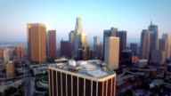 Aerial pull of downtown Los Angeles California video