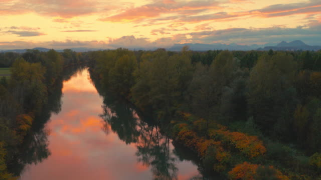 4K Aerial: Rear Lift Over Autumn River Bank at Dusk video