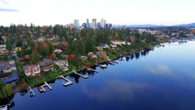 Aerial Reveal City of Bellevue Wa USA Skyline video