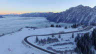 Aerial: Rossfeld, Bavaria, at sunrise in winter video