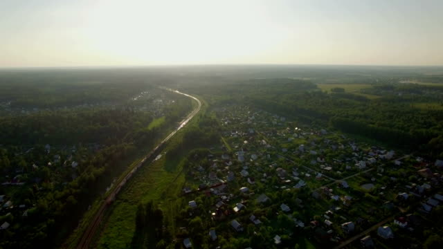 Aerial scene with countryside and moving train, Russia video