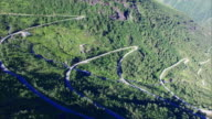 Aerial scenery of Gaularfjellet, Norwegian mountain road video