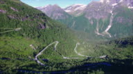 Aerial scenery of Norwegian mountain road video