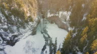 Aerial scenic shot of Waterfall covered in snow video