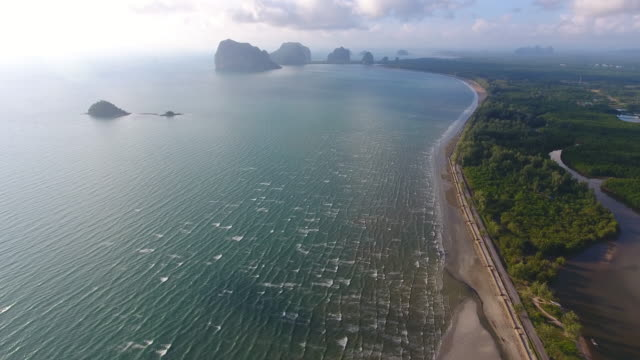 Aerial Sea View, Koh Mook of Trang province in the Andaman Sea, Thailand video