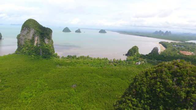 Aerial Sea View of pakmeng beach  in the Andaman Sea, Thailand video