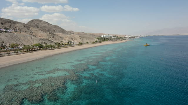 Aerial seascape of Coral Beach Nature Reserve in Eilat, Israel. video