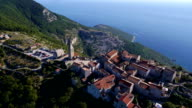 HD Aerial: Seaside village on the edge of a cliff video
