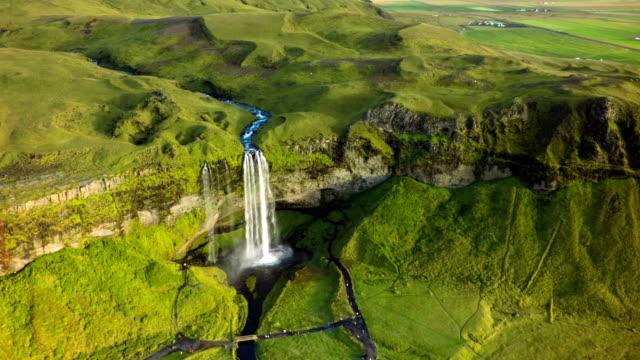 Aerial Seljalandfoss Waterfall in Iceland video