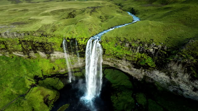 Aerial Seljalandsfoss Waterfall, Iceland video