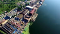 Aerial Shipyard Construction Site Over The River video