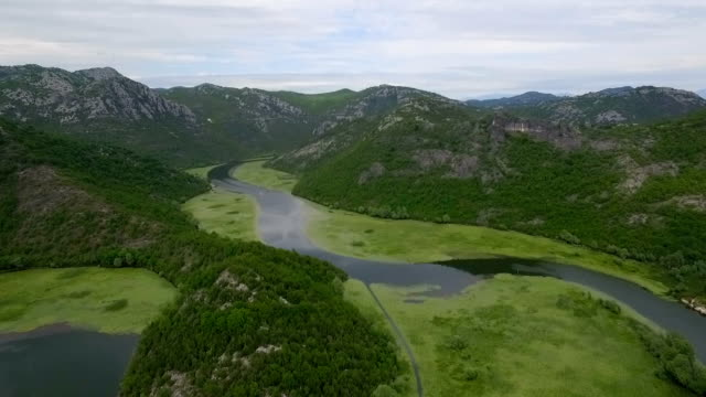 Aerial shooting river with green lilies on water surface flowing around hill. video