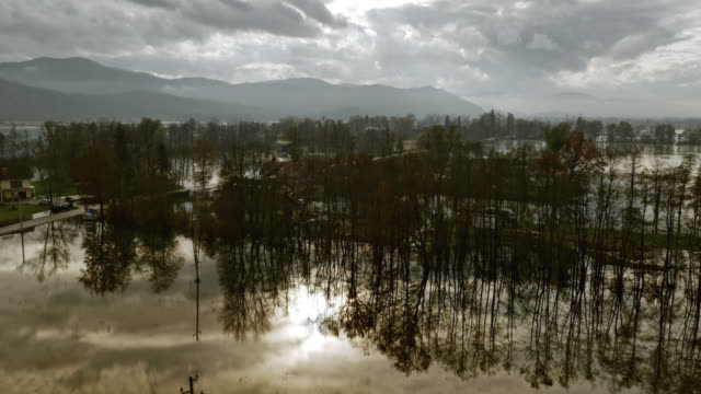 Aerial shot across the flooded valley video