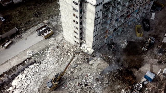Aerial shot Building Demolition video