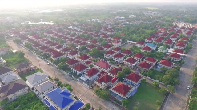 Aerial Shot Community in the mist in Thailand video