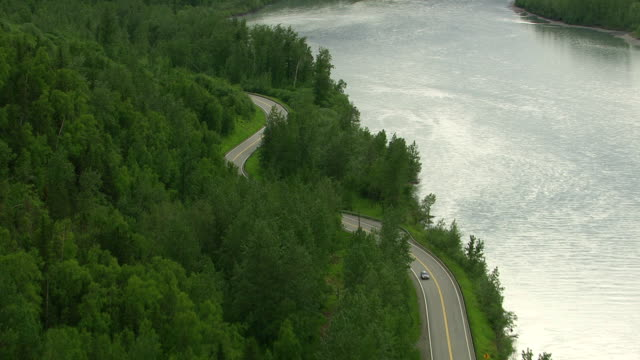 Aerial shot curvy road and forest, Alaska video