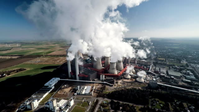 Aerial shot of a Coal Fired Power Station video