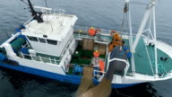 Aerial Shot of a Commercial Ship Fishing with Trawl Net at the Sea. video
