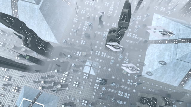 Aerial shot of a futuristic city with spaceships video