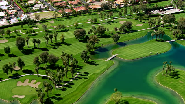Aerial shot of a golf course, Palm Springs California video