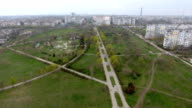 Aerial shot of a highway with several trafffic intersections leading to Kherson video