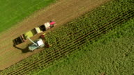 HD: Aerial Shot Of A Silage Harvester video