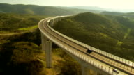 Aerial Shot Of A Viaduct At Sunset video