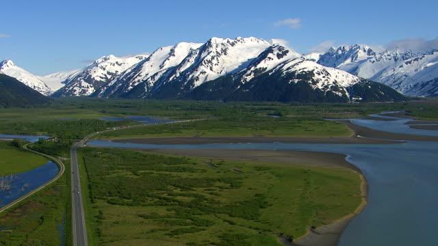 Aerial shot of Alaska, nature and roadway video
