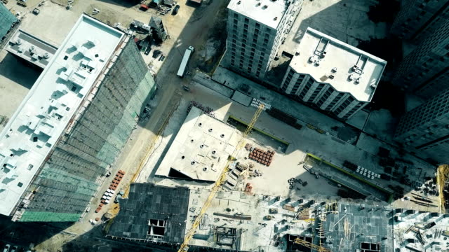 Aerial shot of an apartment buildings construction site. FullHD video video