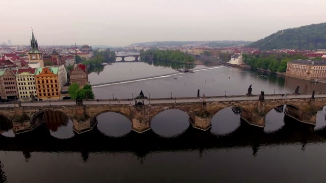 Aerial shot of ancient Charles Bridge in Prague video