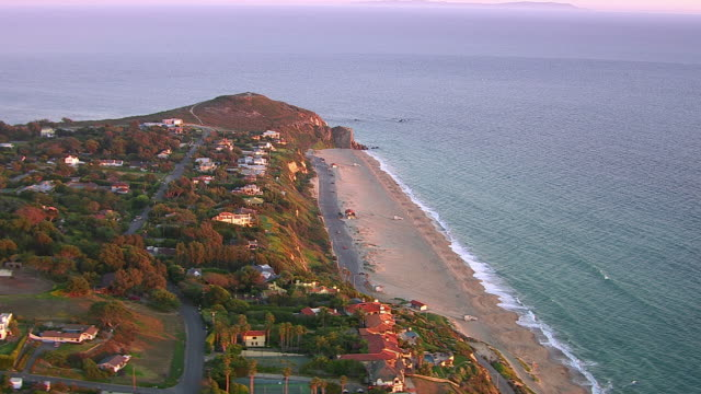 Aerial shot of beach and Point Dume, Malibu, California video
