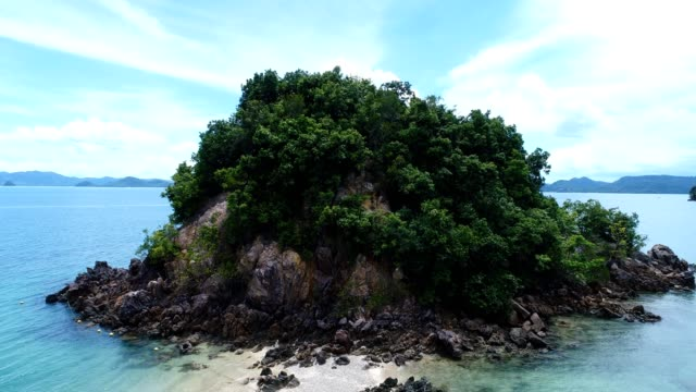 Aerial shot of beautiful deserted island in the south of Thailand video