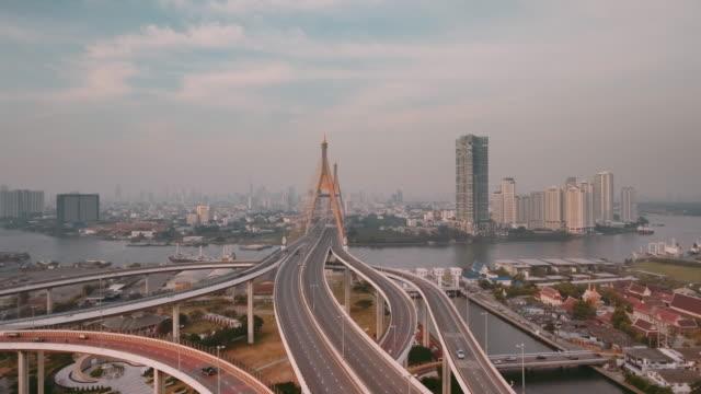 Aerial Shot Of Bhumibol Bridge video