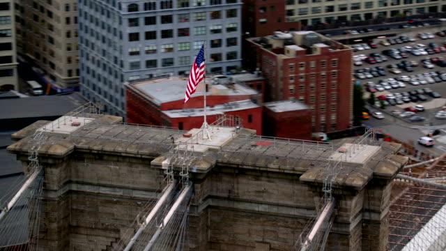 Aerial shot of Brooklyn Bridge, New York City video
