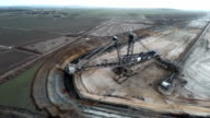 Aerial shot of  brown coal mining side video