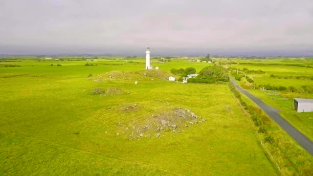 Aerial shot of Cape Egmont Lighthouse, New Zealand video