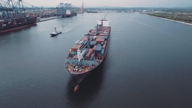 Aerial shot of cargo container ship video