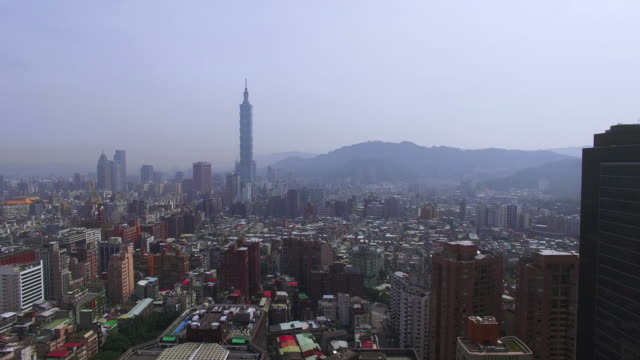 Aerial shot of city of Taipei, Taiwan video