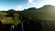 Aerial shot of Cliff with Waterfall - Iceland video