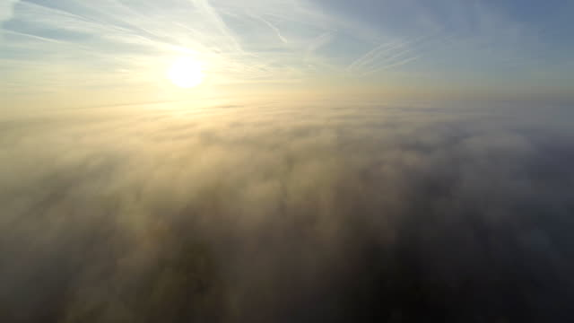 HD: Aerial Shot Of Countryside In Fog video